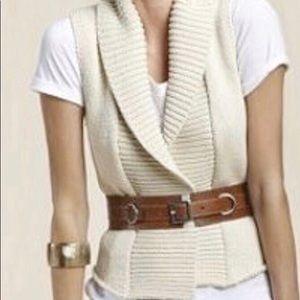 CAbi Chunky Knit Sweater Vest Cream Color Size Sm
